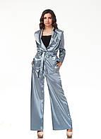 Пижамный шелковый костюм. Модель КС003_серый атлас, фото 1