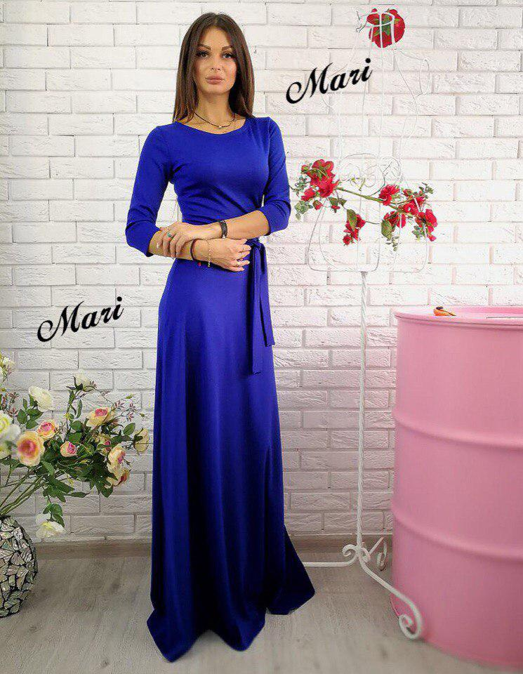a2ca0fab104 Женское платье в пол с рукавом 3 4