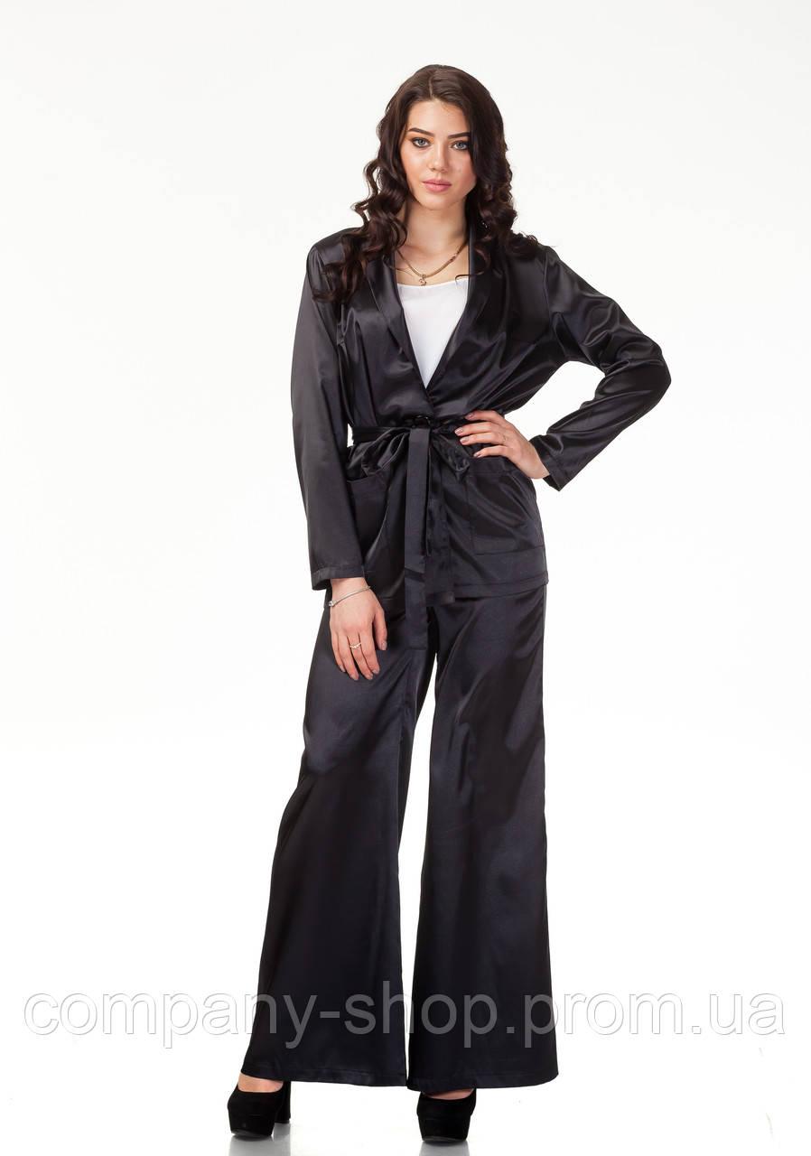 Пижамный шелковый костюм. Модель КС003_черный атлас