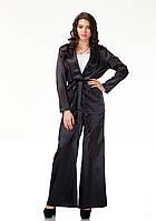 Пижамный шелковый костюм. Модель КС003_черный атлас, фото 1