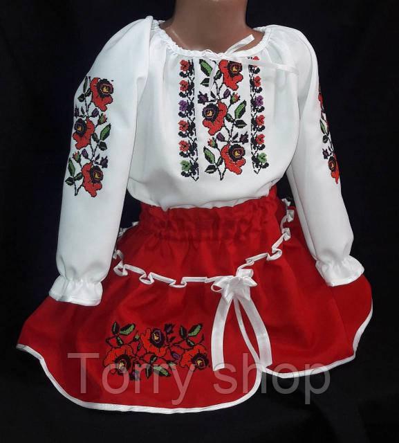 Вышитый детский костюм для девочки красного цвета, 2-7 лет