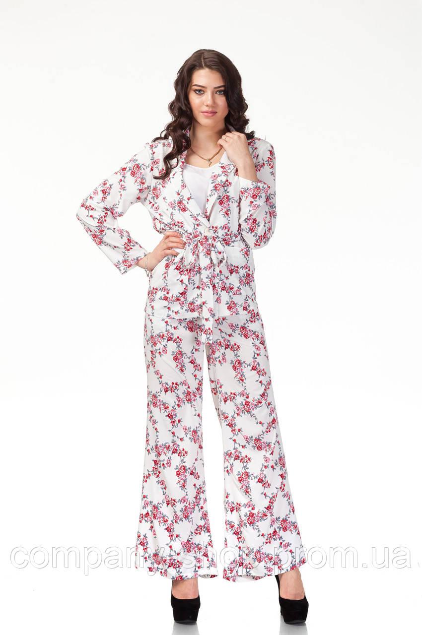 Пижамный шелковый костюм. Модель КС003_софт цветочки, фото 1