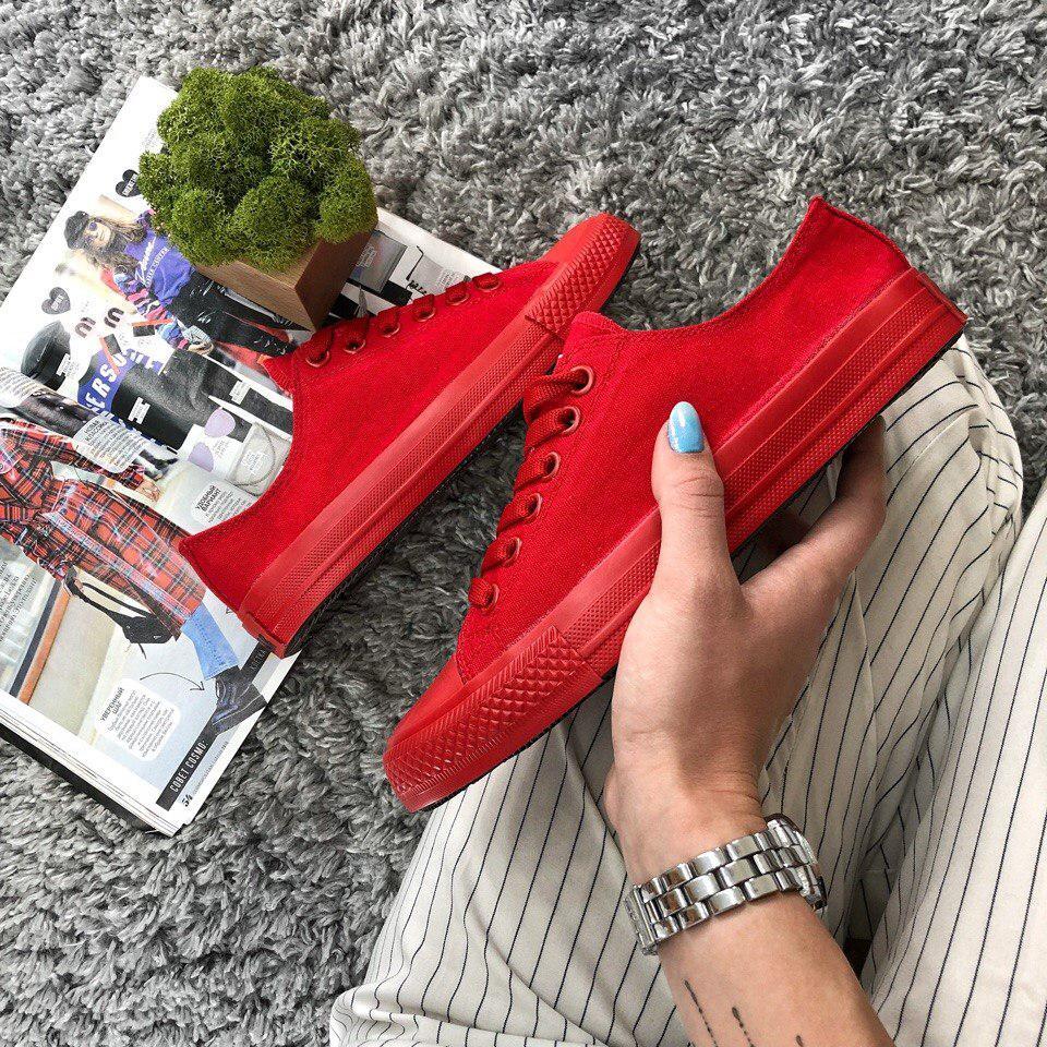 Кеды Converse All Star Женские конверс -  Red (конверсы низкие). Топ Реплика
