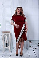 Эффектное Бордовое миди платье 42-74р