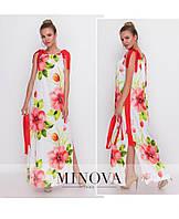 f52a662809e Атласное летнее платье сарафан с цветами ТМ Минова Прямой поставщик Украина Россия  СНГ р.42