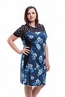 Женское летнее платье Нарядное Цветы. Размер 50-54