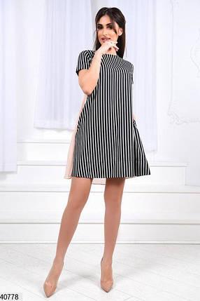 Летнее платье мини свободное короткий рукав полосатое пудра, фото 2