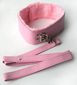 ОШЕЙНИК С ПОВОДКОМ цвет розовый, (PVC, текстиль)