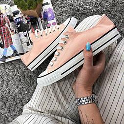 Кеды Converse All Star Женские конверс - Pink (конверсы низкие). Топ Реплика