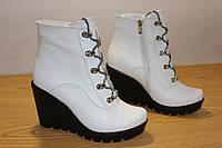 Белые ботинки, кожа., фото 1