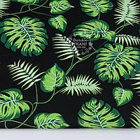 """Ткань хлопковая """"Листья монстеры и пальмы"""" среднего размера зелёные на чёрном (№1307)"""