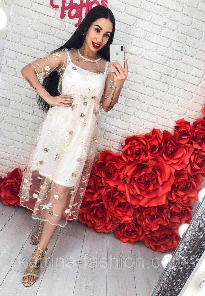 Женское платье-двойка с цветочным принтом