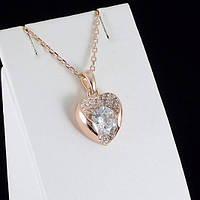 """Роскошный кулон """"Сердце"""" с кристаллами Swarovski + цепочка, покрытые золотом 0864"""