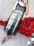 Женское стильное платье-двойка: однотонное платье и шифоновый сарафан (3 цвета), фото 3