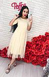 Женское стильное платье-двойка: однотонное платье и шифоновый сарафан (3 цвета), фото 8