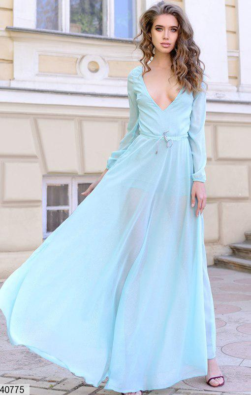Нарядное платье макси подклад платья в виде комбинезона, талия фиксируется  серебристым канатиком тиффани