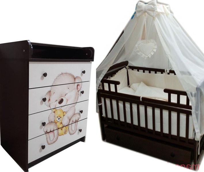 """Акция! Комплект """"Лодочка с комодом фото"""" : Комод фото+ кроватка маятник+ матрас кокос + постельный набор."""
