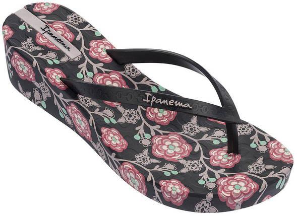 Оригинал Вьетнамки женские на платформе 82284-22267 Ipanema Floral Plat Black/Pink, фото 2