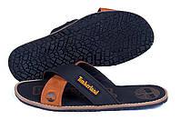 Мужские кожаные  летние шлепанцы Timberland Classic Black (реплика)