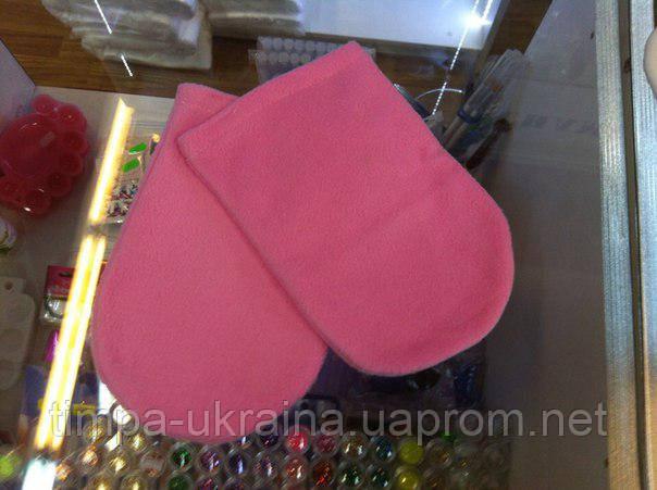Варежки флис (1 пара) розовый, фото 2