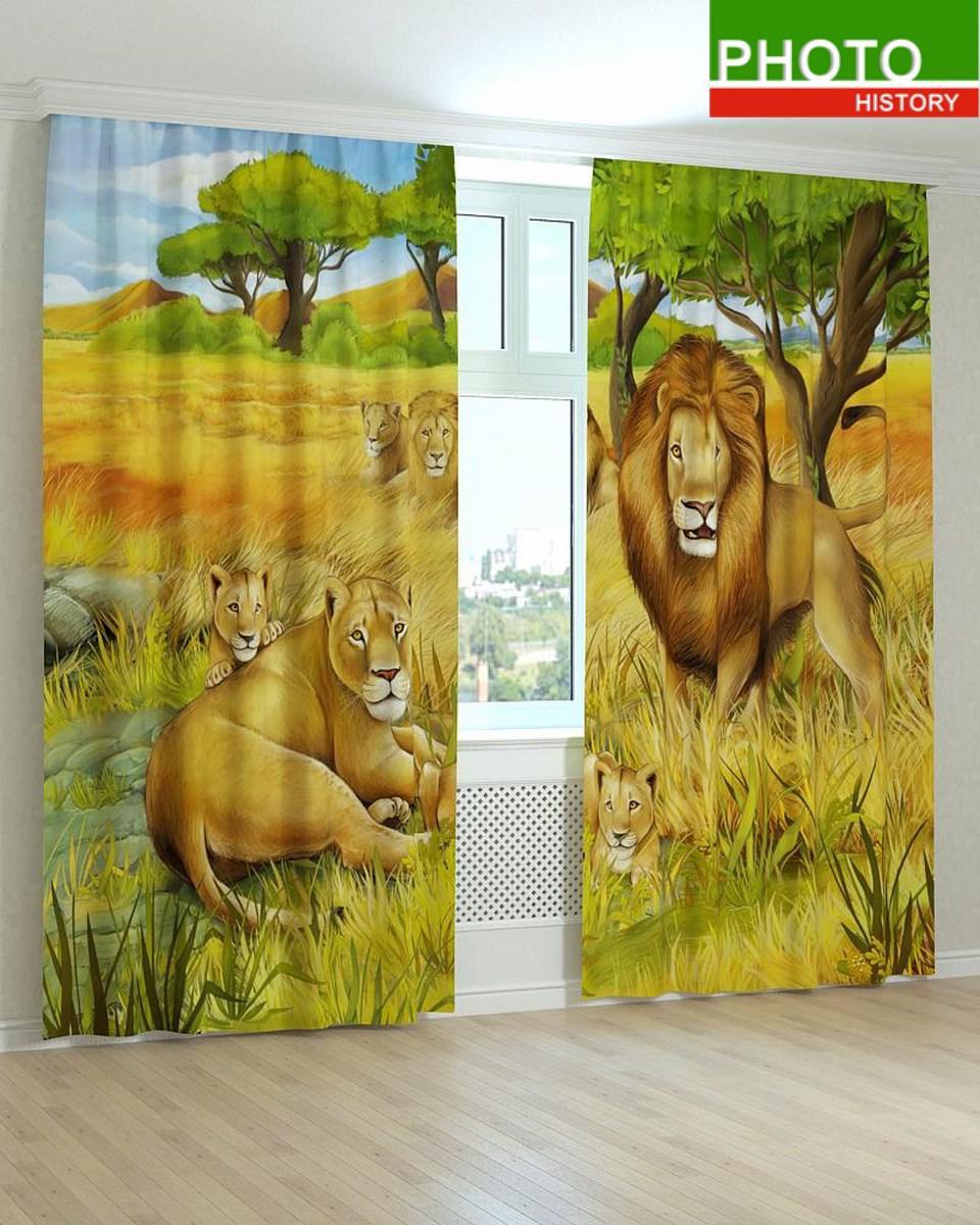 Фотошторы в детскую комнату царь зверей