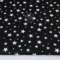 """Ткань хлопковая """"Звёздная россыпь"""" с белыми звёздами на чёрном, №1309"""