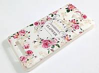 Чехол силиконовый для Xiaomi Redmi Note 2 с рисунком цветы светлый