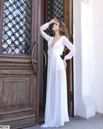 Стильное платье длинное юбка пышная с поясом длинный рукав белое, фото 2