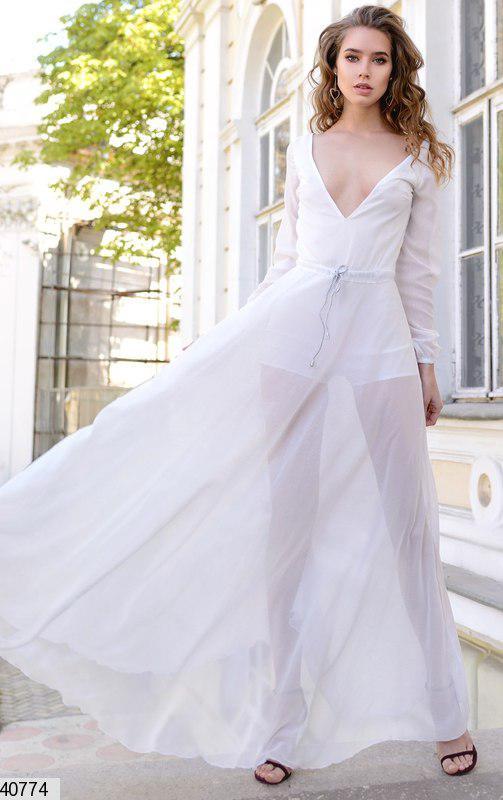 Стильное платье длинное юбка пышная с поясом длинный рукав белое