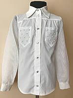 Детская белая рубашка/блузка для девочки 6-12 лет