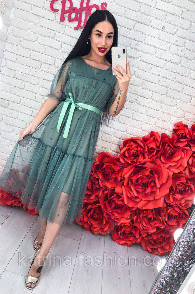 Женское легкое воздушное платье с жемчугом (3 цвета)