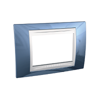 Рамка 3-мод. Голубой Unica Schneider лёд/Белый, MGU6.103.854