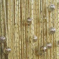 Шторы нити Дождь с Бусинами №13 Шампань / Серебро