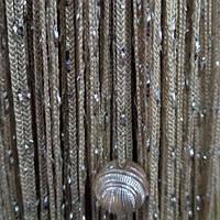 Шторы нити Дождь с Бусинами №14 Бежевый / Серебро