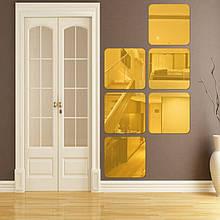 Набор квадратных акриловых зеркал 6 шт. 20×20 см × 1 мм золото