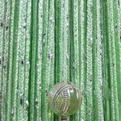 Шторы нити Дождь с Бусинами №15 Салатовый / Серебро