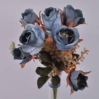 Букет розочки синие с тычинками 30 см Цветы искусственные