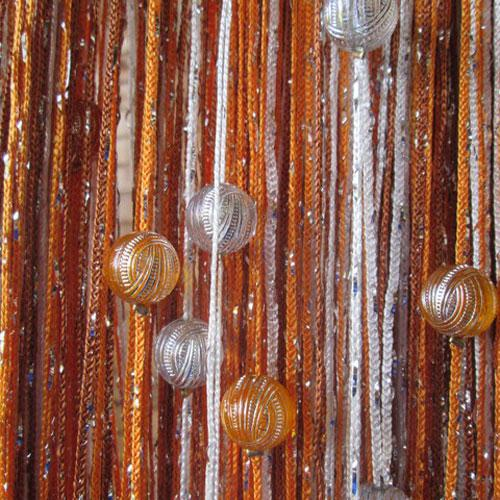 Шторы нити Радуга дождь с Бусинами №1+2+3 / Серебро