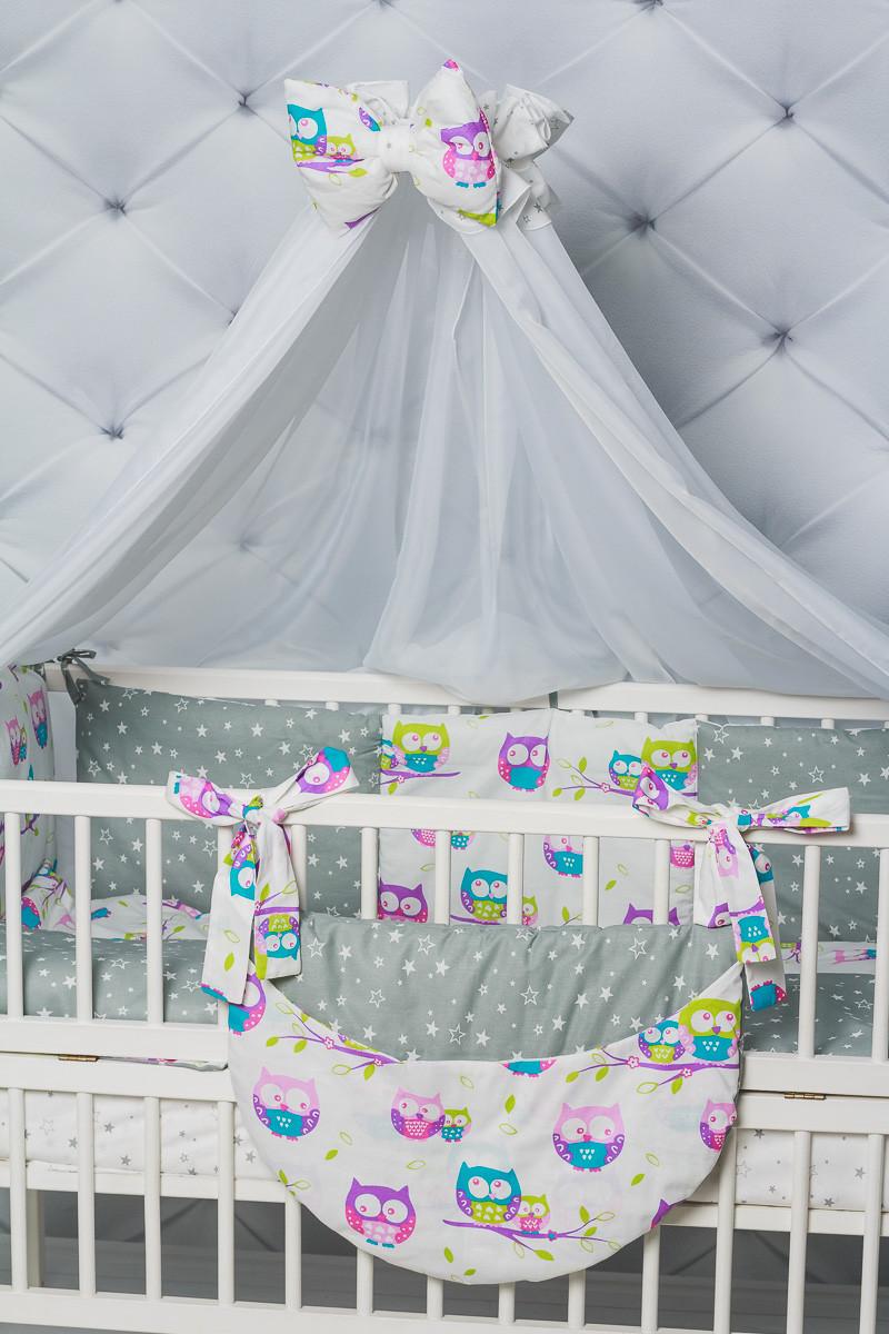 """""""Цветные совушки""""набор постельного для малыша"""