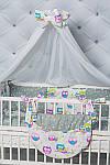 """Комплект постельного белья с бортиками и балдахином """"Цветные совушки"""" , фото 3"""