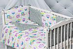 """""""Цветные совушки""""набор постельного для малыша, фото 2"""