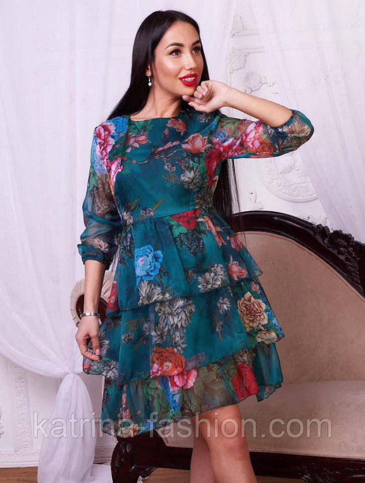 e7d2b6c9c44 Женское шифоновое платье с цветочным принтом (2 цвета)  продажа ...