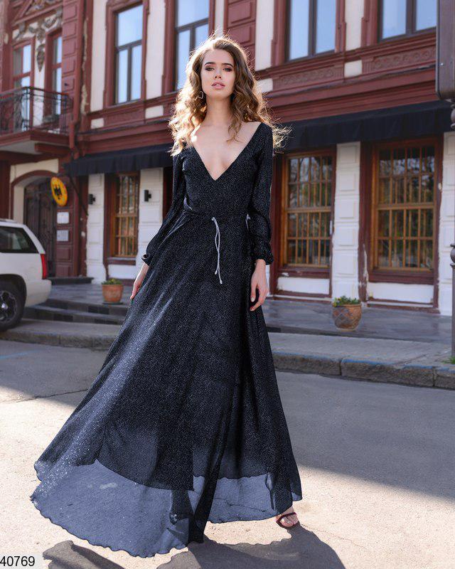 Нежное платье длинное комбинезон с поясом пышная юбка длинные рукава темно синее