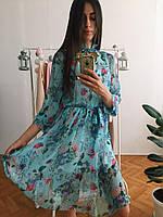 Платье шифоновое с пышной юбкой в цветы