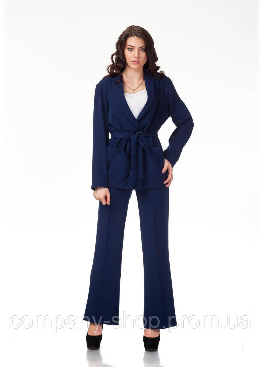 Пижамный шелковый костюм. Модель КС003_креп синий