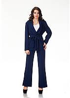 Пижамный шелковый костюм. Модель КС003_креп синий, фото 1