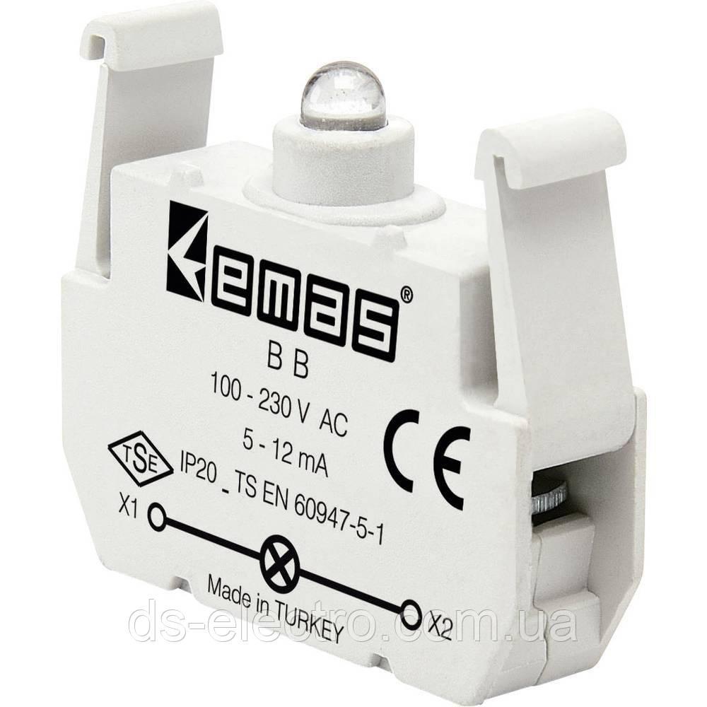 Блок-контакт підсвітки з білим світлодіодом 100-250 В AC BB