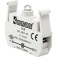 Блок-контакт підсвітки з зеленим світлодіодом 12-30 В AC/DC B9
