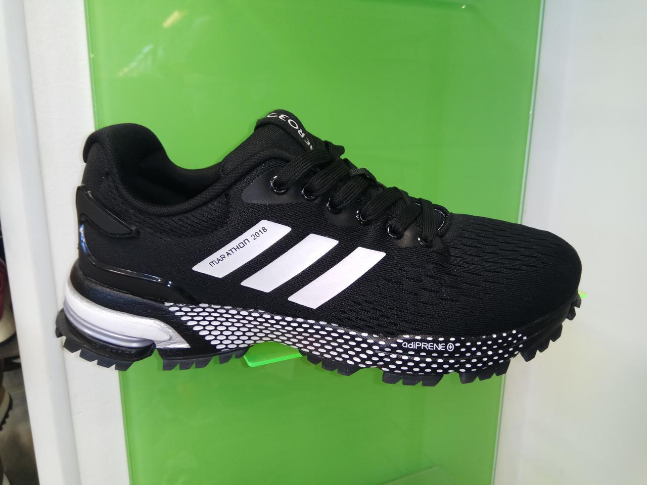 Мужские кроссовки Adidas Marathon 2018 black white - Интернет магазин  krossovkiweb.kiev.ua в 7813fe4ae7a