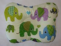 Подушка для новорожденных слоны зеленые